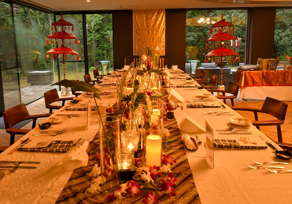 静岡レセプションパーティー バリ島ウェディング装飾 テーブルデコレーション