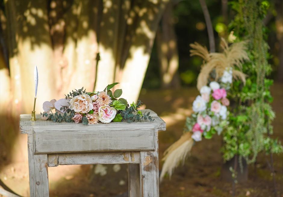 伊豆・邸宅ウェディング 伊豆プライベート結婚式 祭壇装飾